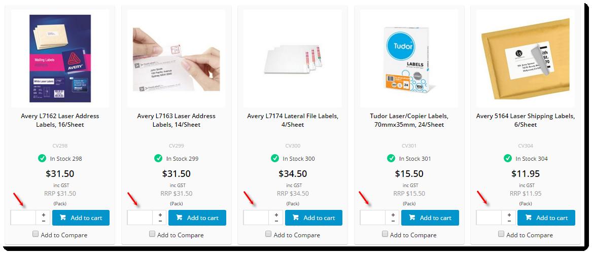 Product List Qty Box Widget - Commerce Vision Documentation - CV Connect